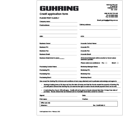 Downloads Guhring cutting tools catalogues and templates for – New Customer Account Form Template